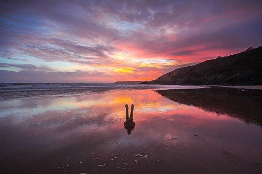 Beach, Sunset, Low Tide, Reflection, Ocean, Silhouette