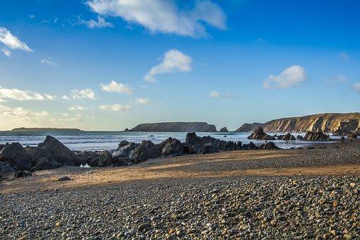 Reefs, Low Tide, Beach, Ocean, Wales, England