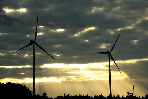 Windräder, Wind Power, Sky, Sunset, Abendstimmung