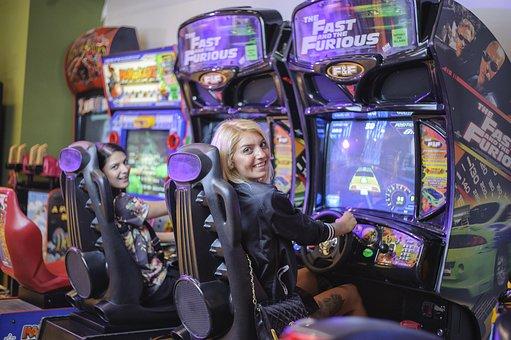 Girls Playing, Car, Game, Girls, Game Automat, Drive