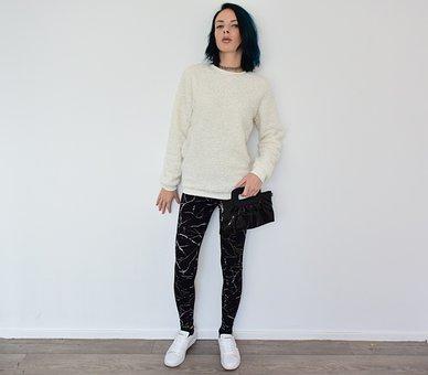 Girl, Woman, Model, Clothing, Bag, Legging, Sweater