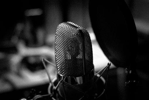 Music, Microphone, Black And White