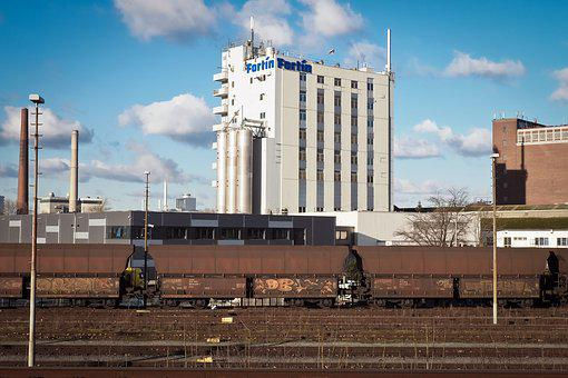 Freight Cars, Factory, Chimneys, Production, Railway