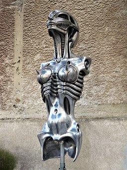 Art, Sculpture, Gyger, Metal, Woman, Number, Breasts