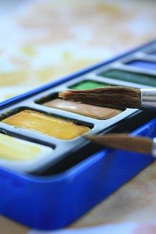 Colors, Watercolour, Aquarelle, Blue, Brush