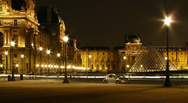 Paris, Louvre, France, Pyramid, Museum, Art, Evening
