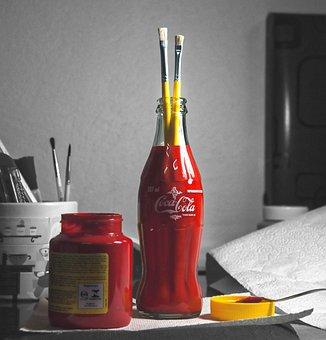 Paint, Red, Coke Bottle, Color, Brush, Liquid, Bottle