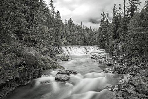 Glacier National Park, River, Falls, Flow