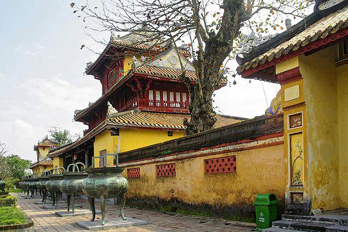 Viet Nam, Booed, Palace, Imperial, Pavilion, Yellow