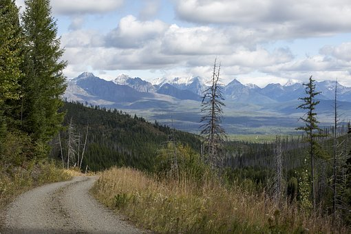 Glacier National Park, Forest, Road, Clouds, Mountain