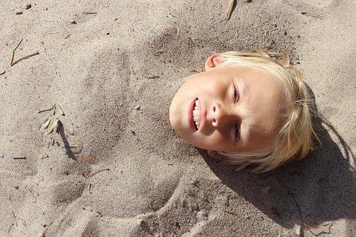 Children, Summer, Beach, Riviera, Head, Sand, Bared