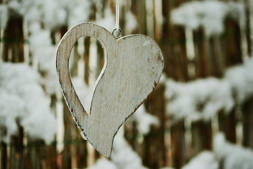 Heart, Wooden Heart, Winter, Snow, Love, Wood, Symbol
