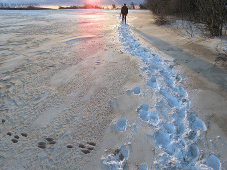 Snow, Sunset, W, Wintry, Dusk, Traces