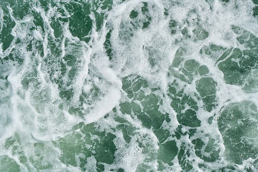 Wave, See, River, Ocean, Green, White, Lacquer, Texture