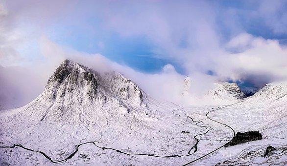 Scotland, Landscape, Scenic, Mountains, Snow, Winter