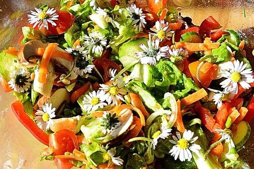 Salad, Summer Salad, Flowers, Daisy, Wild Herbs