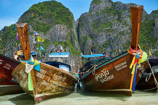 Ocean, Thailand, See, Boat, Ship, Wooden, Old, Tropical