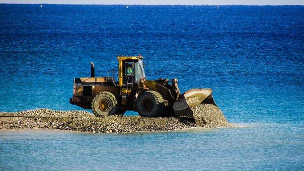 Bulldozer, Unload, Gravel, Embankment Fill, Vehicle