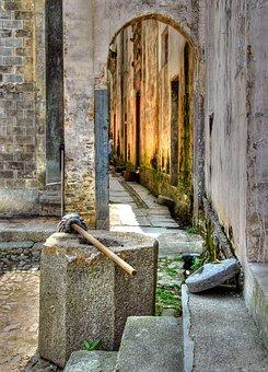 Broom, Door, Lane, China, Nanping
