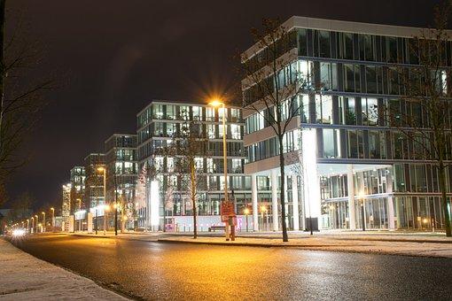 Darmstadt, Hesse, Germany, Telekom City, Night