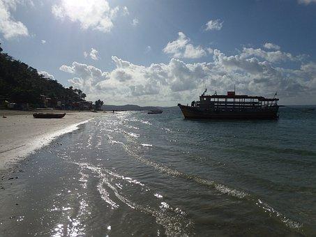Beach, Mar, Boat, Sol, Brazil, Island, Trip, Vessel