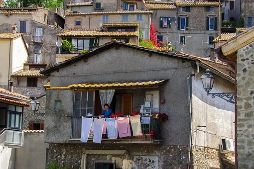Anguillara, Rome, Drying Laundry, Housewife, Italy