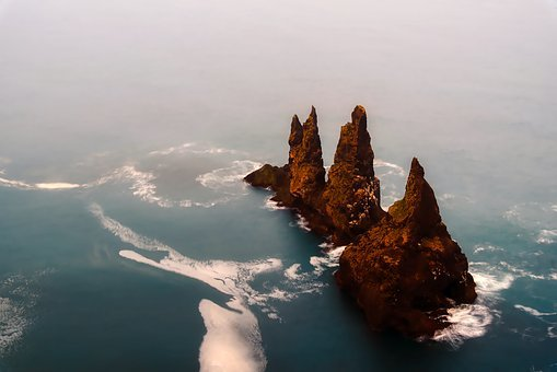 Iceland, Sea, Ocean, Water, Formations, Outcrop, Crag