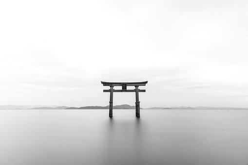 Tori, Torii, Shrine, B W, Black And White, Japanese
