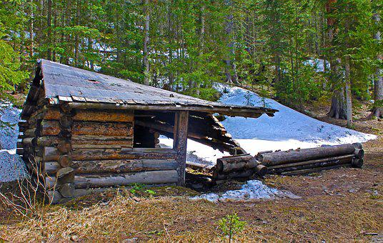 Old Cabin, Cabin, Dilapidated, Homestead, Collapsed