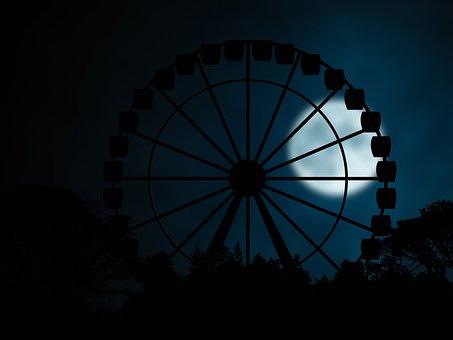 Ferris Wheel, Night, Silhouette, Gloomy, Folk Festival