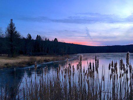 Ice, Sunset, Lake, Winter, Sun, Light, Landscape, Cold