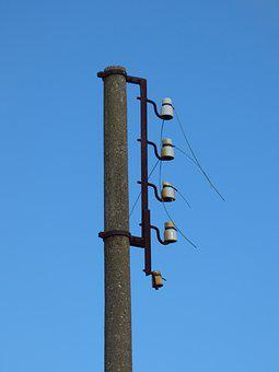 Electric Pole, Power Line, Old, Light Cut, Current