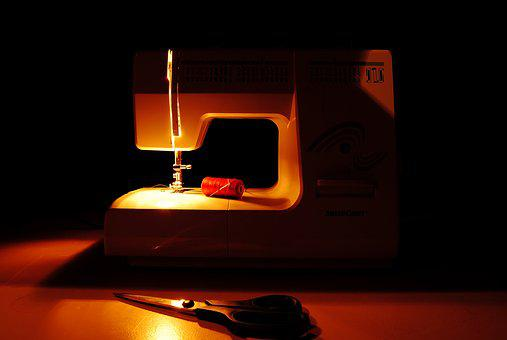 Sewing Machine, Sewing, Line, Scissors, Needle