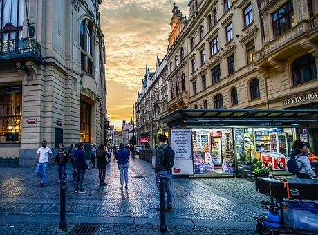 Prague, Twilight, News, Stand, Czech, City, Republic