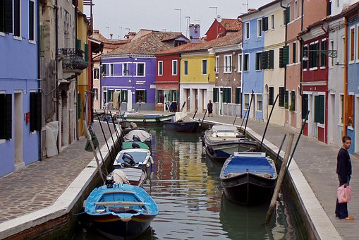 Murano, Venice, Italy, Channel, Water, Boats, Buildings