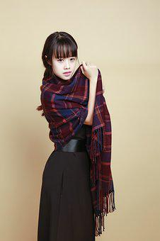 Girl, Chinese, Asian, Model, Beauty, Young, Scarf
