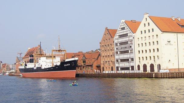 Gdansk, Quay, Poland, River, City, Old Town, Port, Bay