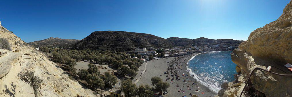 Matala, Crete, Beach, Panorama, Sun Loungers, Bathing