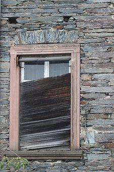 Shutters, Defect, Window, Quarry Stone, Ruin, Neglected