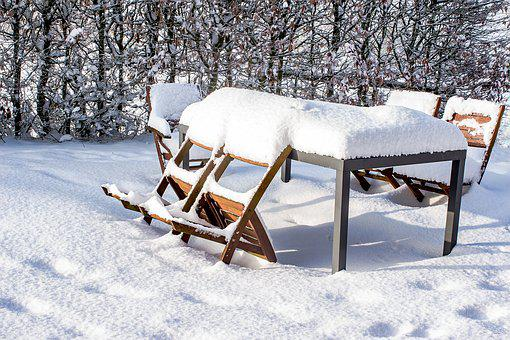 Snow, Table, Chairs, Wood Chairs, Metal Table, Snowy