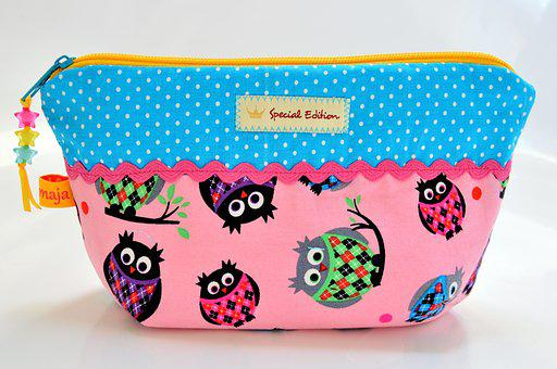 Bag, Cosmetics, Colorful, Playful, Owls, Special