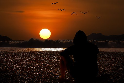 Sunset, Evening Sky, Beach, Background