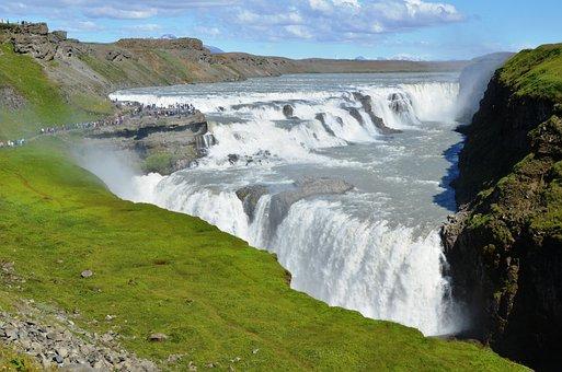 Waterfall, Gullfoss, Iceland, Nature, Landscape, River