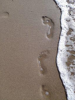 Beach, Traces, Sand, Footprints, Footprint, Trace, Sea