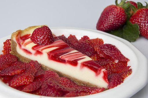 Food, Cheese Cake, Platter, Plate, Strawberry, Fruit