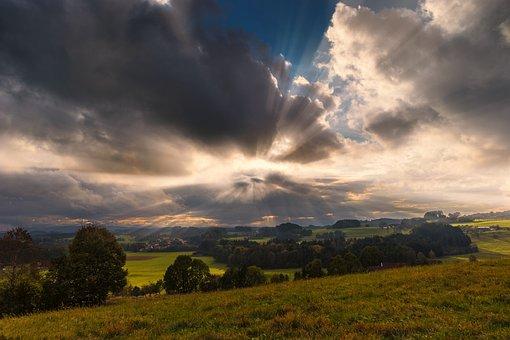 Sunbeam, Landscape, Desktop Background, Sky, Sun, Mood