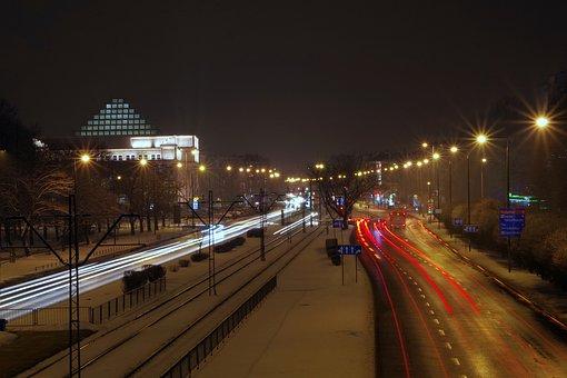 City, Night, Light, Winter, Street, Transport, Tram