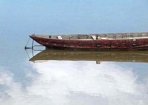 Viet Nam, Boat, Stern, Rudder, Reflections, Cloud