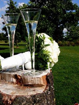 Bridal Bouquet, Champagne, Sektglässer, Celebration