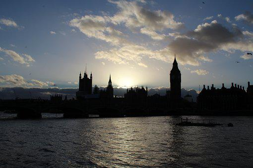 London, River, Clouds, Sunset, Landmark, Thames